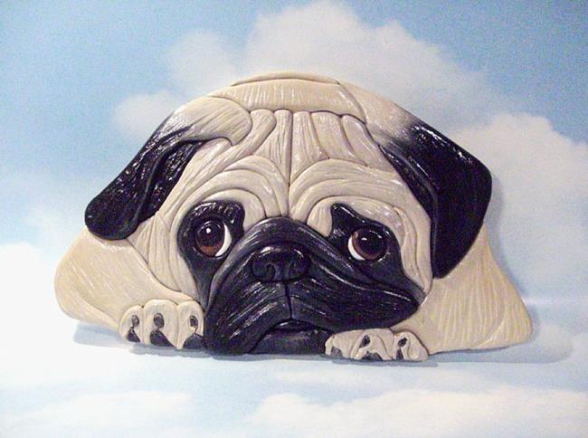 Art: Why So Sad ? Pug.. Original Painted Intarsia Art by Artist Gina Stern