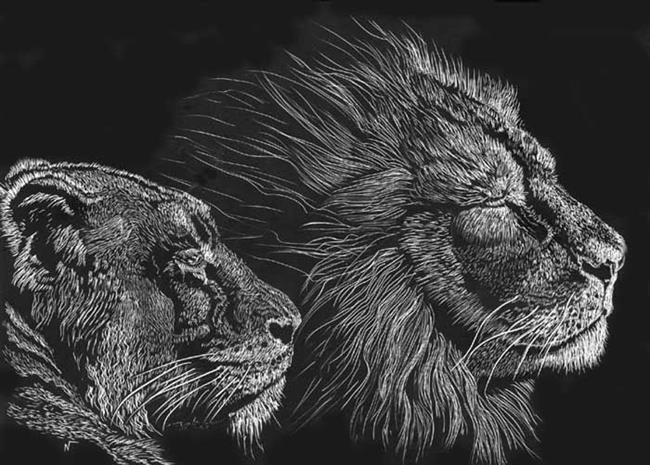 Art: 2 Lions portrait by Artist Naquaiya