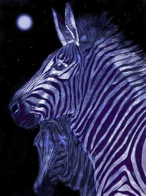 Art: Zebras Double Love by Artist Naquaiya