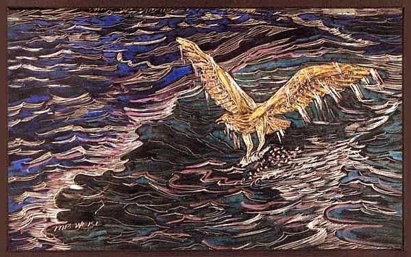 Art: Osprey catching Fish by Artist Naquaiya