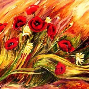 Art: Windswept Poppies - SOLD by Artist Diane Millsap