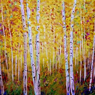 Art: Long Park Yellow Aspens by Artist Diane Funderburg Deam