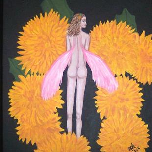 Art: Flower Fairy  with Mums by Artist Sandi Gayle Stefkovich