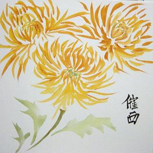 Art: Chinese Golden Mums by Artist Tracey Allyn Greene