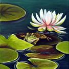 Art: Frog Among the Lilies by Artist Rita C. Ford