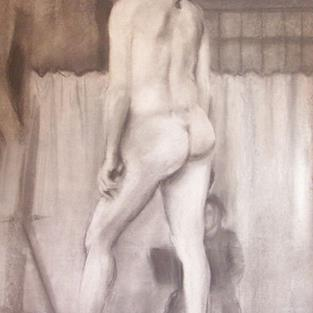 Art: NUDE MAN WITH CURTAIN by Artist Lauren Cole Abrams