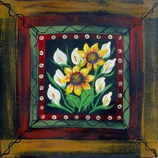 Art: Calla Lillies and Sunflowers by Artist Diane Funderburg Deam