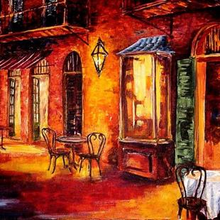 Art: French Quarter Cafe - SOLD by Artist Diane Millsap