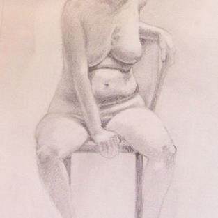 Art: SEATED NUDE by Artist Lauren Cole Abrams
