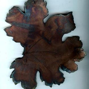 Art: Raku Fall Leaf by Artist Deborah Sprague