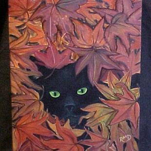 Art: Blackie in the Leaves by Artist Rosemary Margaret Daunis