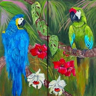 Art: Jungle Macaws by Artist Dia Spriggs