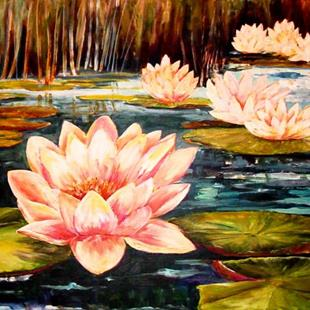 Art: Moonlight and Water Lilies - SOLD by Artist Diane Millsap