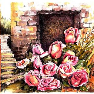Art: Roses in the Courtyard by Artist Diane Millsap