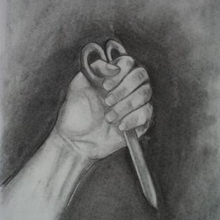 Art: Hand and Scissors by Artist Jenny Doss