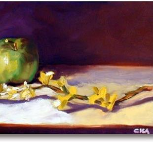 Art: Forsythia & Apple by Artist C. k. Agathocleous