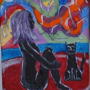 Art: Meditation With Her Cat by Artist Kathleen A. Roberson