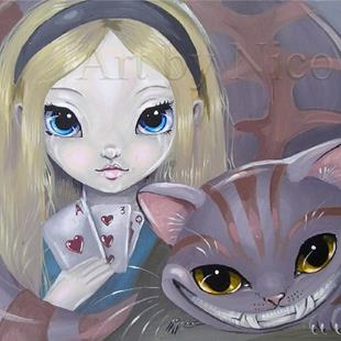 Art: Alice and Cat by Artist Nico Niemi