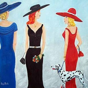 Art: 3 Ladies and a Dog - sold by Artist Ulrike 'Ricky' Martin