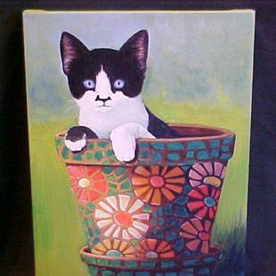 Art: Zorro the Kitten by Artist Rosemary Margaret Daunis