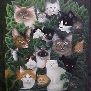 Art: 18 Cats Painting Print by Artist Rosemary Margaret Daunis