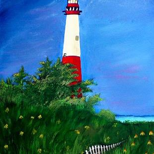 Art: Red Lighthouse by Artist Dia Spriggs