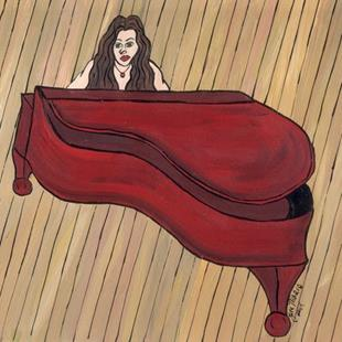 Art: Red Piano by Artist Jen Thario