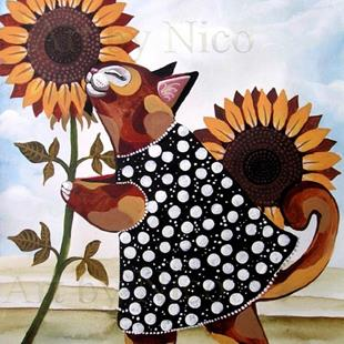 Art: Calico Kitty and Sunflowers by Artist Nico Niemi