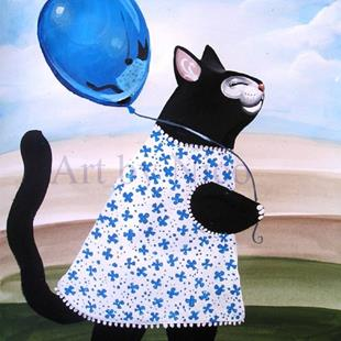 Art: Black Kitty and Balloon by Artist Nico Niemi