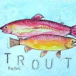Art: Nice Pair Of Rainbow Trout by Artist Ulrike 'Ricky' Martin