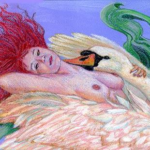 Art: Leda and the Swan by Artist Erika Nelson