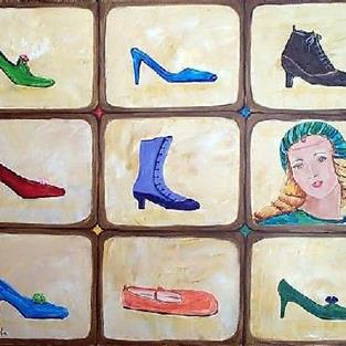 Art: Cinderella dreaming of new shoes by Artist Ulrike 'Ricky' Martin