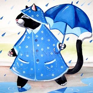 Art: Kitty in a Raincoat by Artist Nico Niemi
