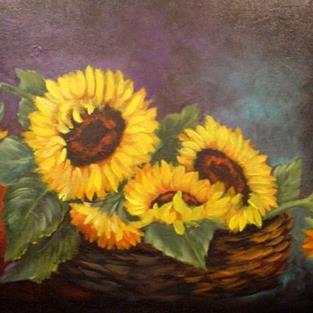 Art: Basket of Sunflowers //SOLD by Artist Barbara Haviland