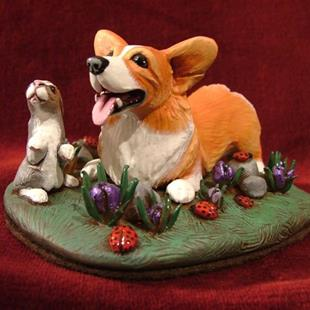 Art: Corgi, Bunny & Ladybugs in Spring Flowers by Artist Camille Meeker Turner