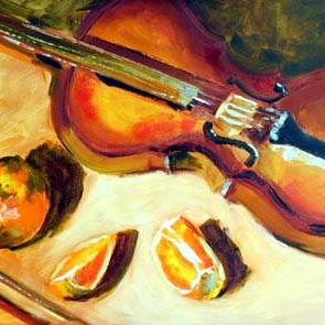 Art: Violin with Orange Slices by Artist C. k. Agathocleous