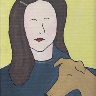 Art: Girl and Her Dog by Artist Jenny Doss