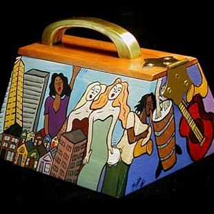 Art: City Street Blues Cigar Box Purse by Artist Jen Thario