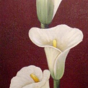 Art: Calla Lilies with a Bow //SOLD by Artist Barbara Haviland