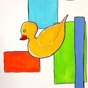 Art: Retro Duckie in Funky Motion by Artist Victor McGhee