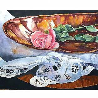 Art: Rose in a copper dish by Artist Ulrike 'Ricky' Martin