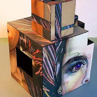 Art: Brook Face Cube by Artist Lori Rase Hall