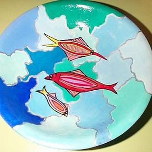 Art: Three Fishes Milepebbles Bowl by Artist Marina Owens