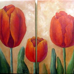 Art: Diptych   Red Tulips //sOLD by Artist Barbara Haviland