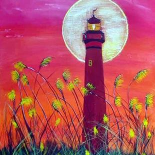 Art: Sunset Lighthouse by Artist Dia Spriggs
