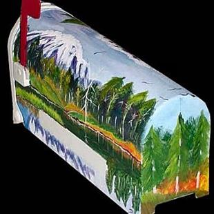 Art: Mountain Scenery Mailbox by Artist Dia Spriggs