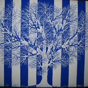 Art: Tree in Blue and White -SOLD by Artist Patrick E Zatloukal