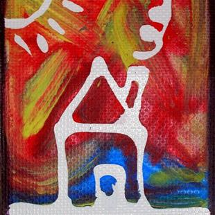 Art: Funky Psychedelic Hippy Dippy House Scene ACEO by Artist Diane G. Casey