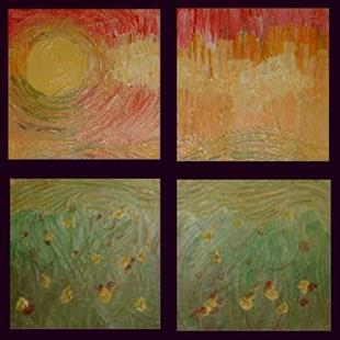 Art: Sunny Day with Fields (quadtych) (sold) by Artist Julie Hollis