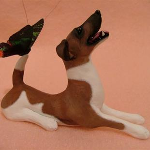 Art: Smooth Fox Terrier & Butterfly, Brown & White w/ Mask by Artist Camille Meeker Turner